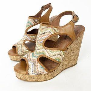 Lucky Brand Riedel Multicolor Wedge Sandals size 9